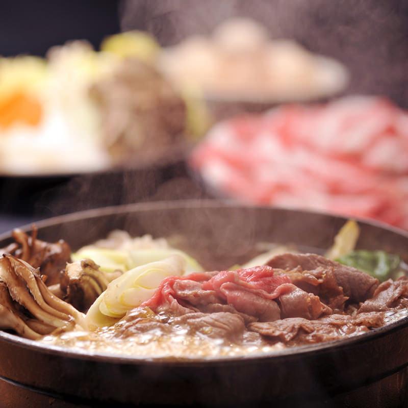 【2階お座敷】近江牛三昧の宴会『近江牛すき焼き・しゃぶしゃぶ食べ比べ』