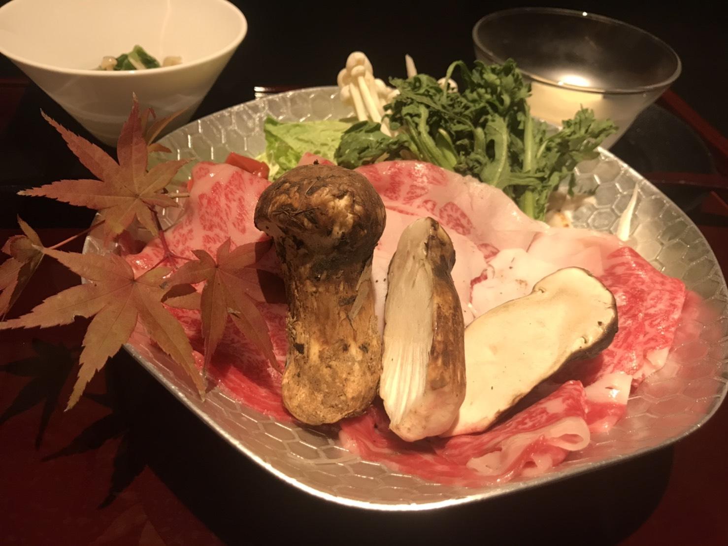 秋の味覚!松茸付き近江牛すき焼き御膳